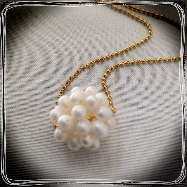 Freshwater Pearl Ball Necklace with Gold Chain