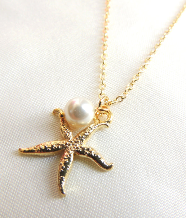 Gold Starfish and Swarovski Pearl Necklace and Earrings set