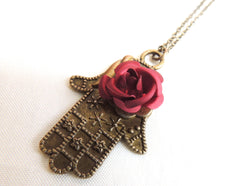 Maroon Rose Hamsa Necklace