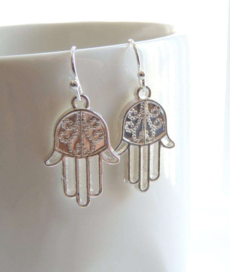 Silver-Tone Hamsa Earrings