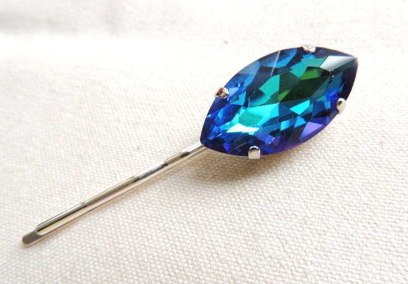 Vitrail Blue And Yellow Marquis Rhinestone Bobby Pin, in Gold