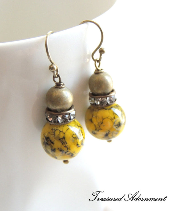 Antiqued Brass and Yellow & Black Glass Mable Bead Earrings