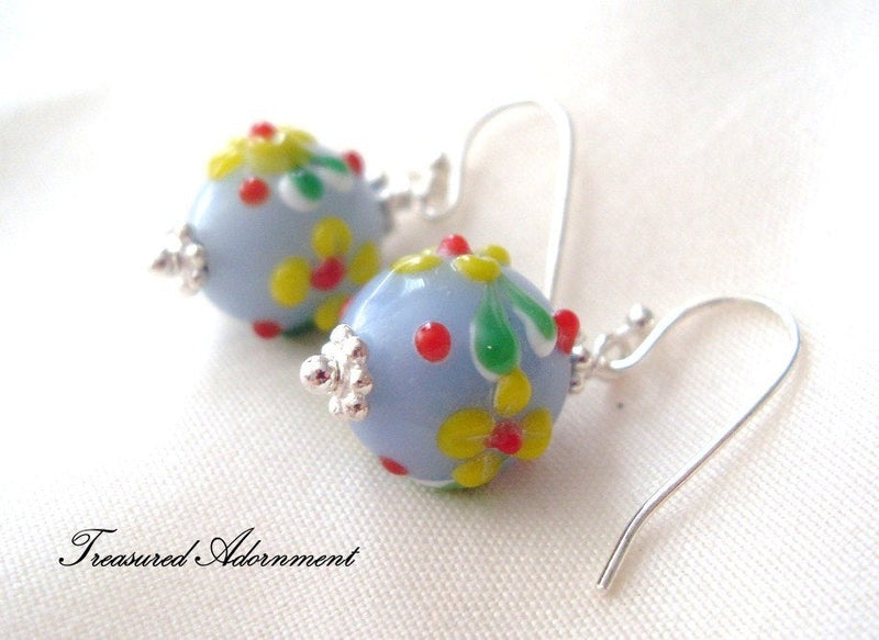 Light Blue & Yellow Lampwork Beads Drop Earrings