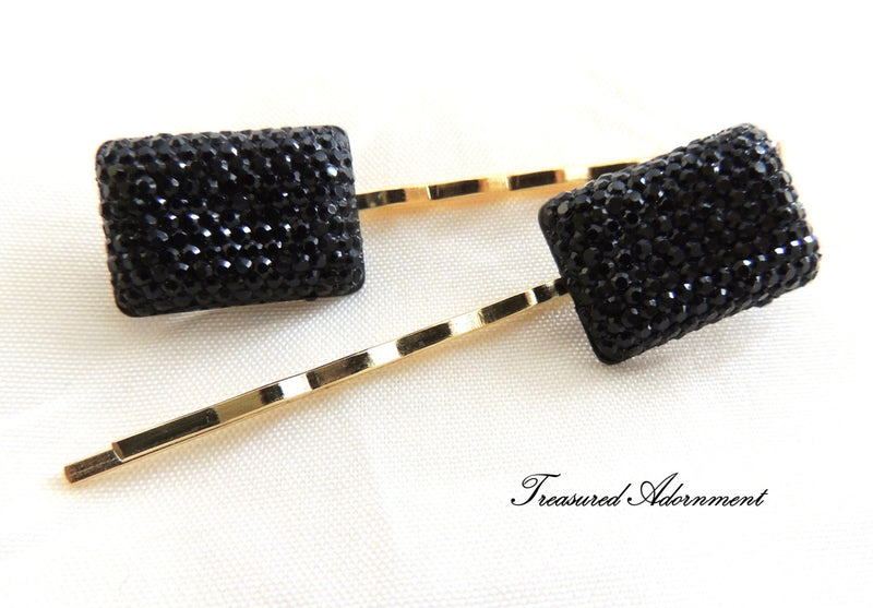 Pave Style Resin Rectange Rhinestone Bobby Pins