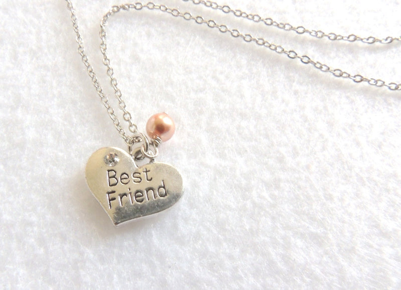 Heart with Rose Gold Swarovski Pearl Best Friend Necklace