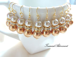 Burnt Orange and Champagne Glass Pearls with Rhinestone Rondelle Earrings
