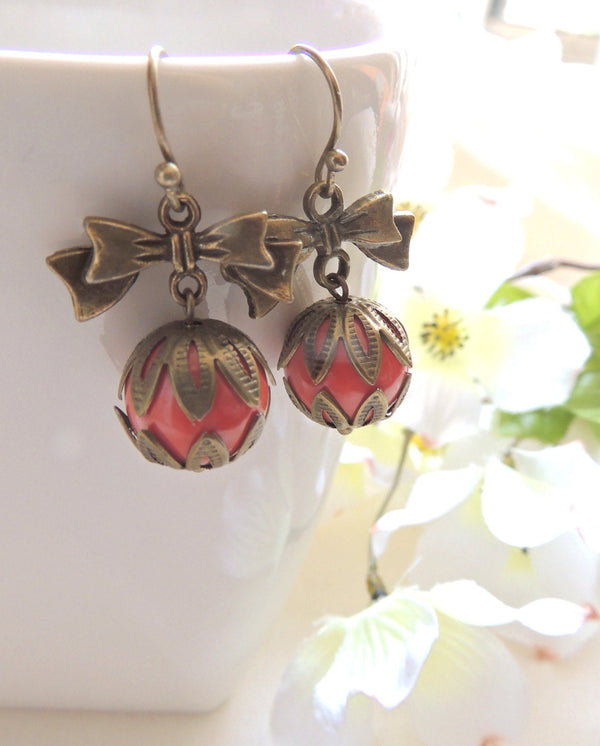 Bow and Coral Bead Earrings