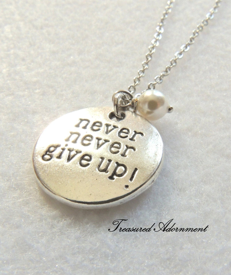 Never Never Give Up White Swarovski Pearl Necklace