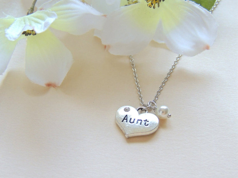 Aunt Heart Necklace with White Swarovski Pearl