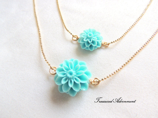 Mint Mum Flower Mommy and Me Necklace Set