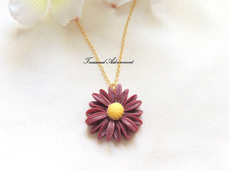 Maroon Flower Necklace