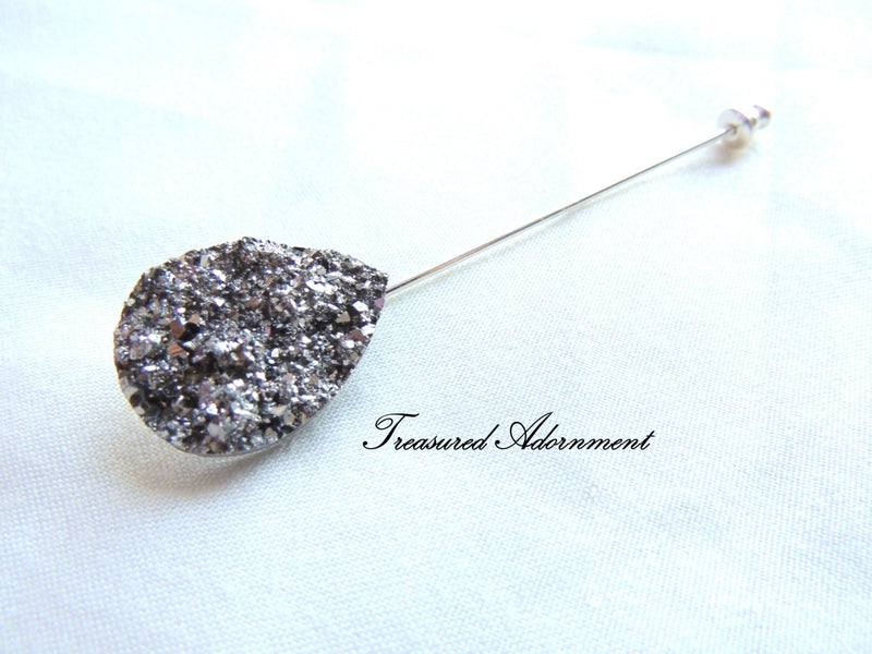 Metallic Gray Druzy Teardrop Scarf Pin