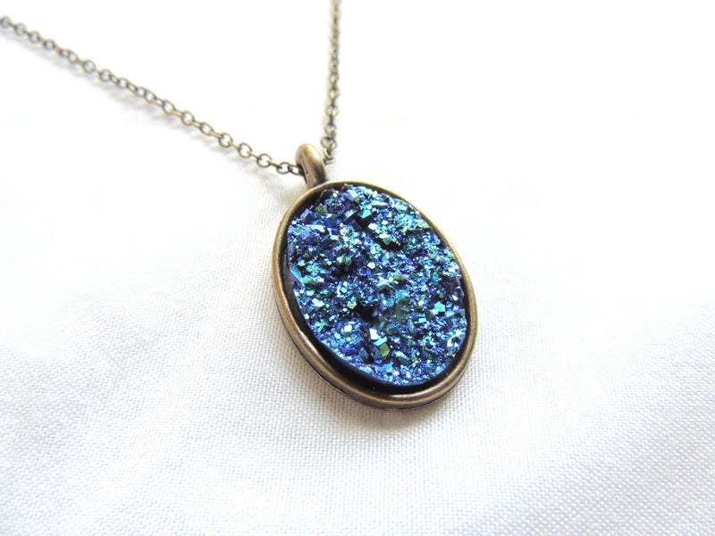 Resin Metallic Oval Druzy Necklace