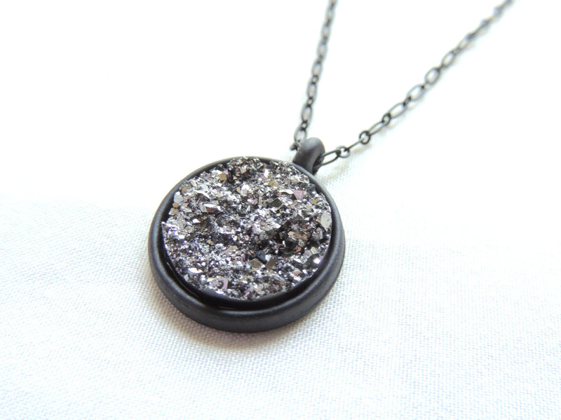 Resin Metallic Gray Round Druzy Necklace