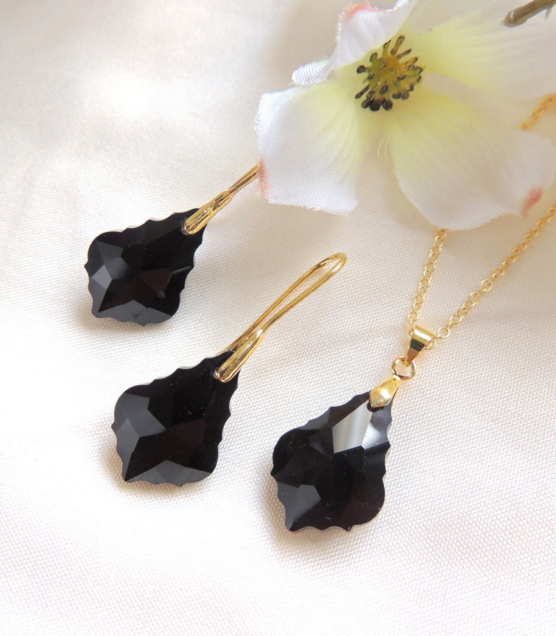 Black Baroque Crystal Necklace