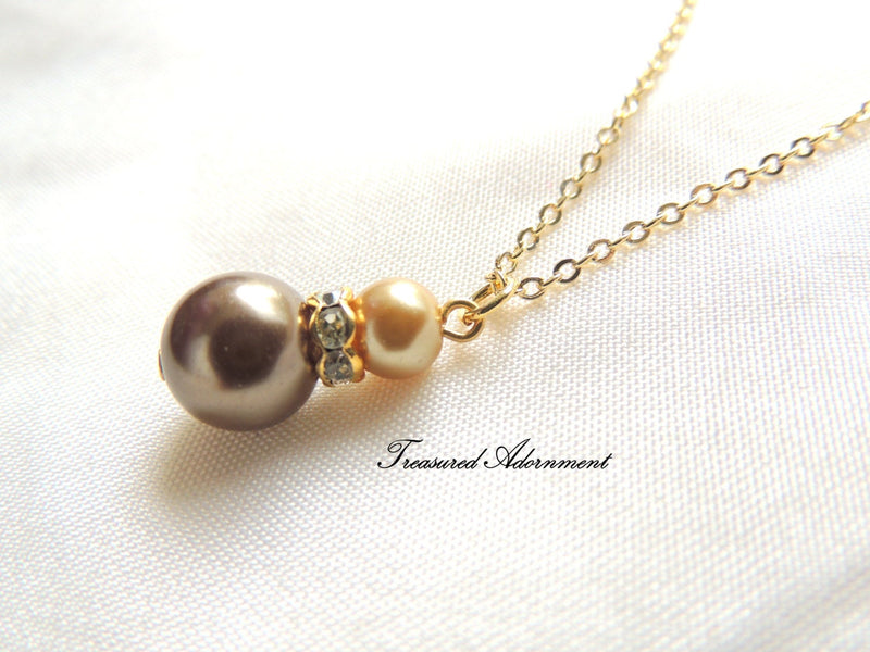 Chocolate Brown and Champagne Gold Glass Pearls Necklace