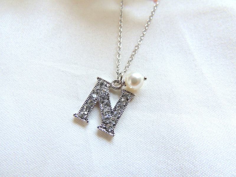Initial Necklace with White Swarovski Pearl