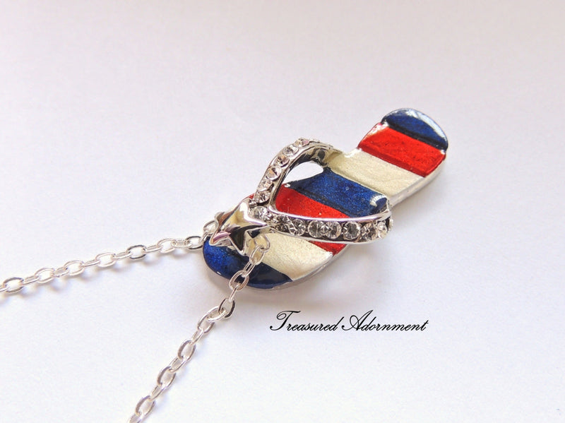 4th of July Necklace Flip Flop Necklace