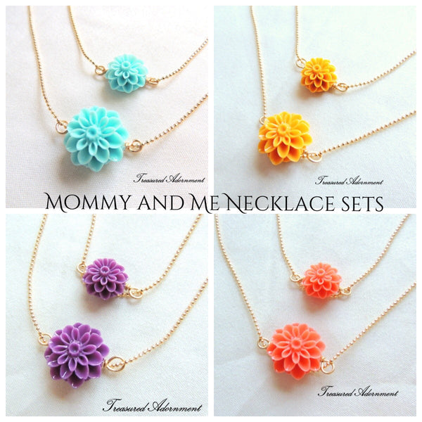 3 Mum Flower Mommy and Me Necklace Set
