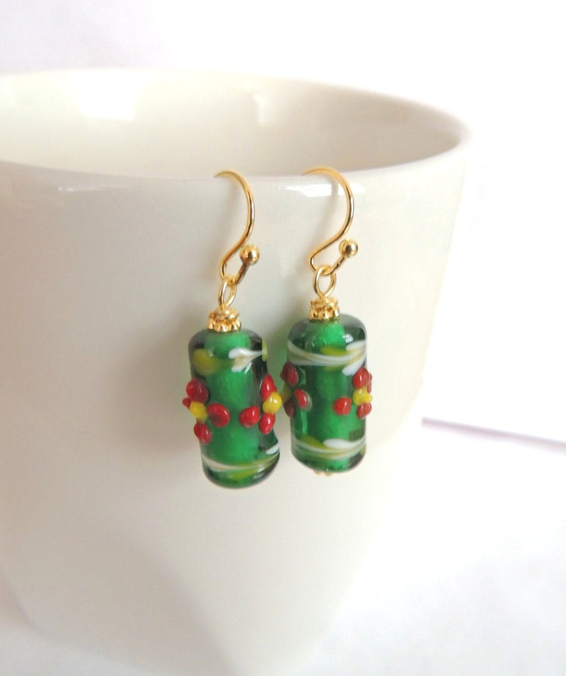 Red Flower Green Lampwork Beads Earrings