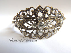 Antiqued Brass Filigree Bracelet with Rhinestones