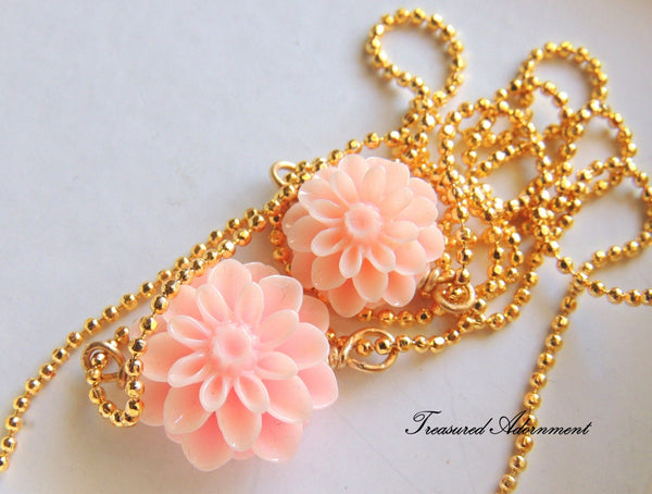 Pastel Pink Mum Flower Mommy and Me Necklace Set