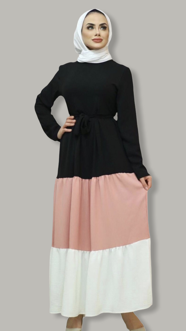 Three Layers Flared Maxi Dress - Black, Pink & White