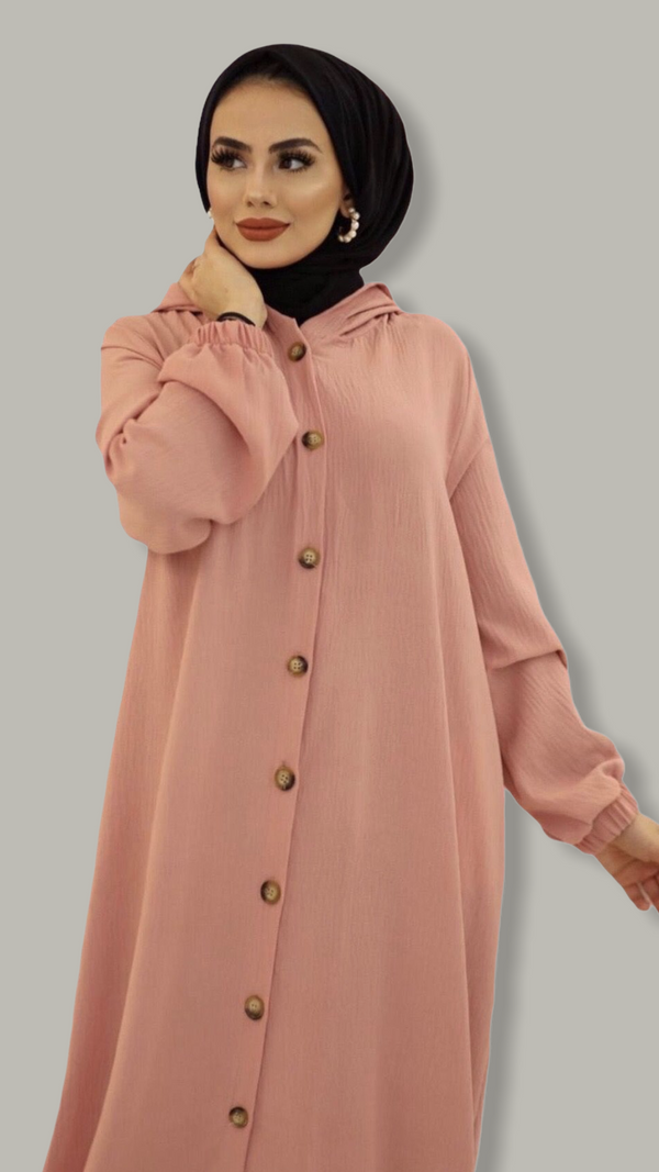Maxi Shirt Dress - Peach Pink