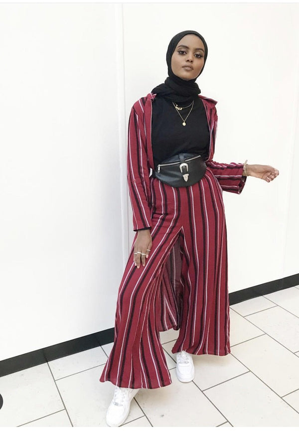Striped Palazzo Pants - Burgundy