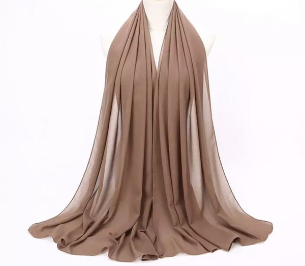 Lux Chiffon Scarf - Walnut Brown