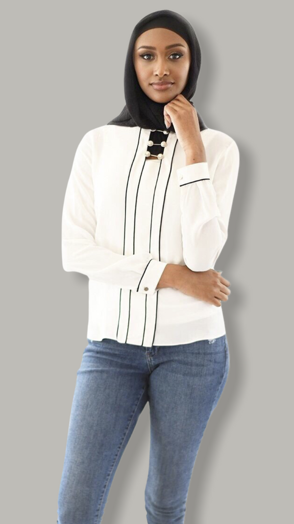Pearl Striped Shirt - White