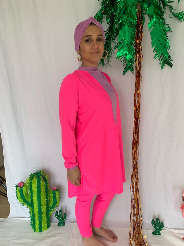Neon Pink & Lavender Color Block Burkini