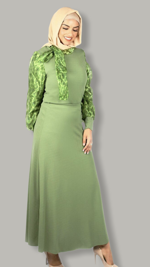 Subtly Flowered 2-piece Dress - Hunter Green