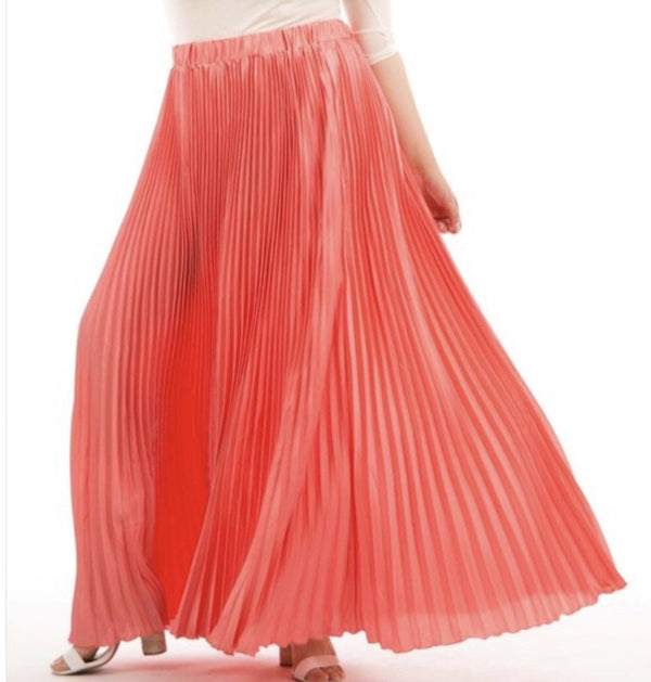 PLUS SIZE - Dreamy Pleated Maxi Skirt - Coral