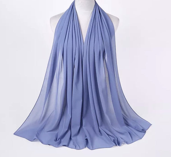 Lux Chiffon Scarf - Light Denim