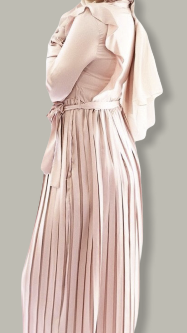 Flamingo Satin Dress - Peach Pink