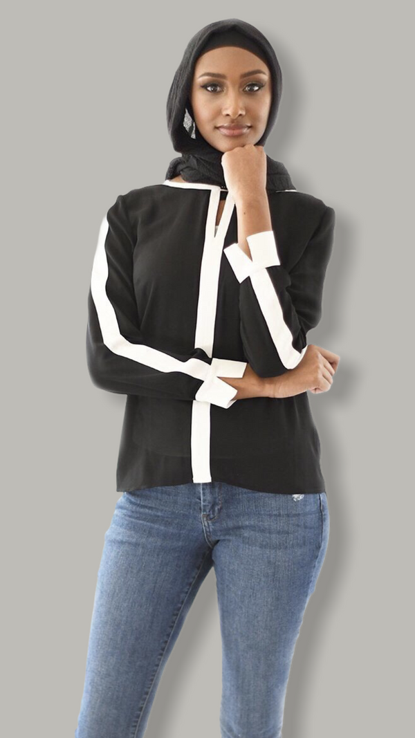 Split White Black Shirt