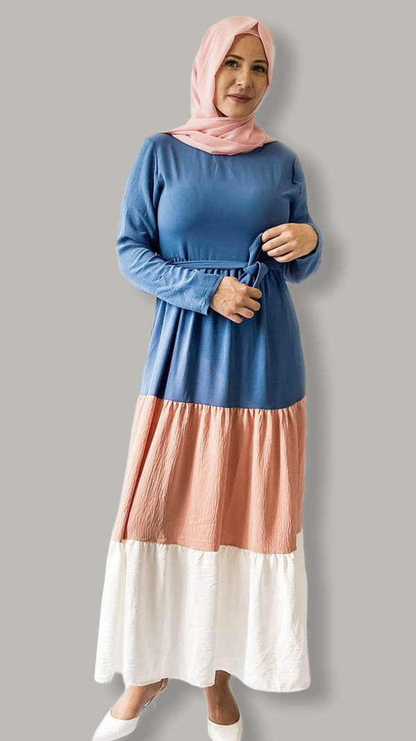 Three Layers Flared Maxi Dress - Blue, Pink & White