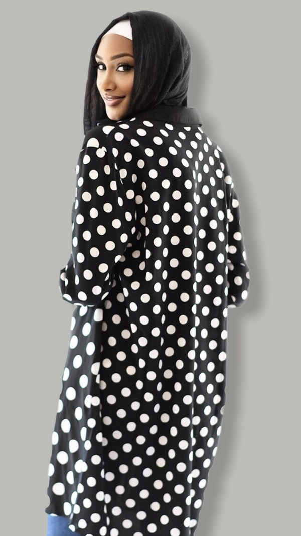 Striped and Dotted Black and White Shirt Dress