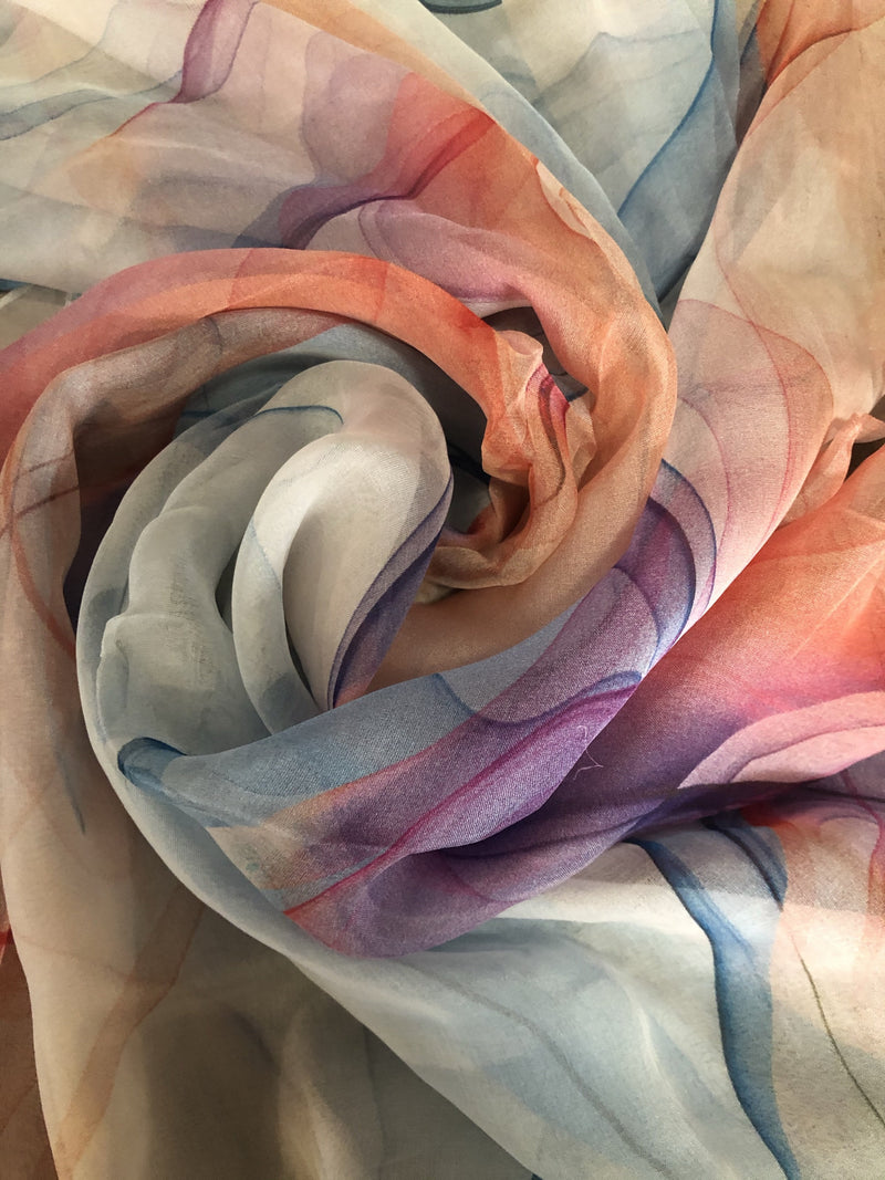Mulberry Silk Scarf - Purple Blue Fusion