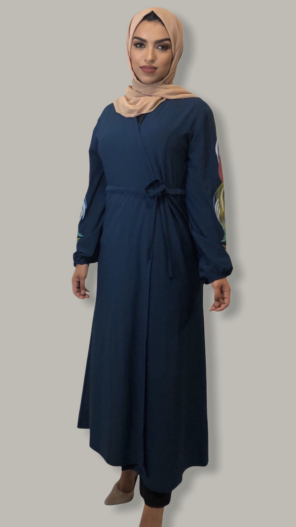 Wrap Dress with Paint Embellished Sleeves  - Peacock