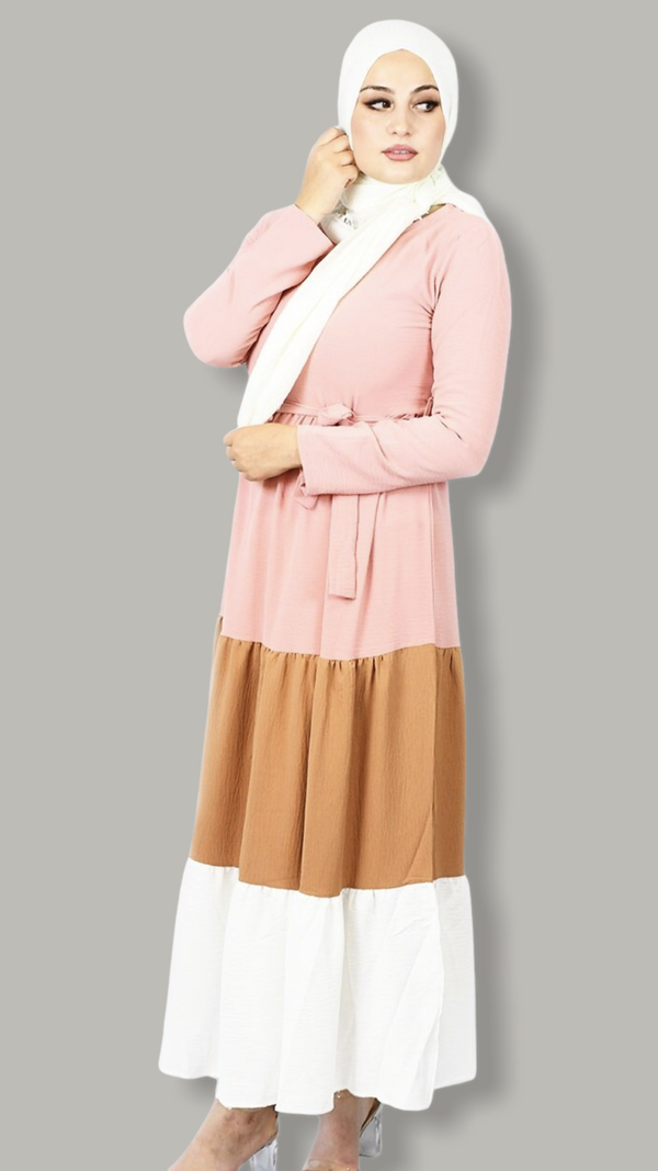 Three Layers Flared Maxi Dress - Pink, Nude & White