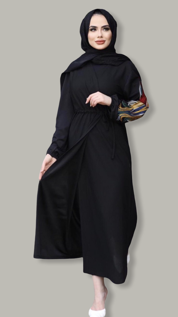 Paint Embellished Sleeves Wrap Dress - Black