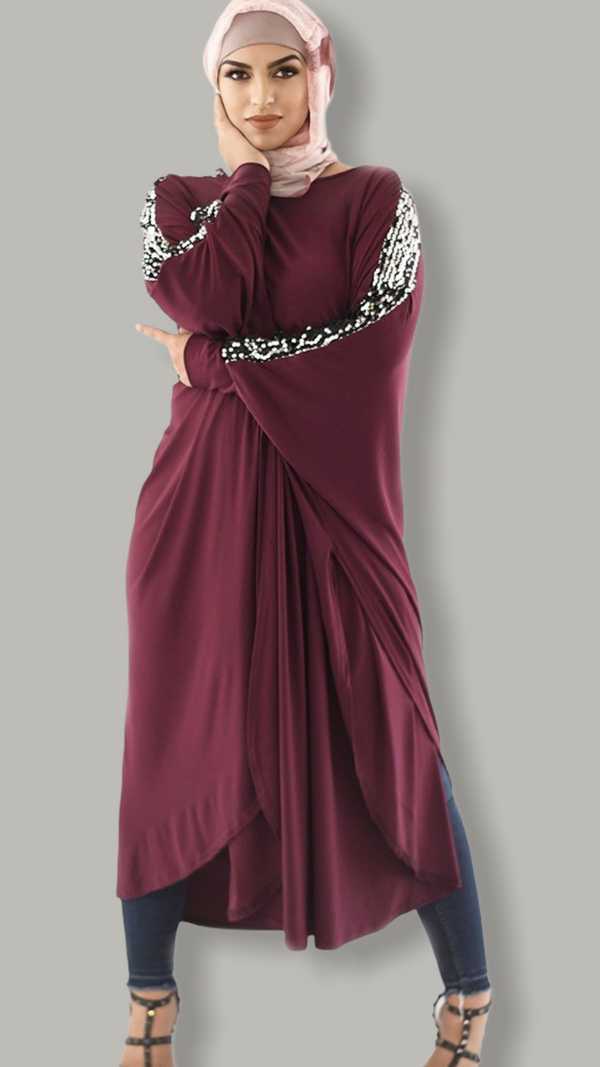 Plum Pancho sequined sleeves Dress