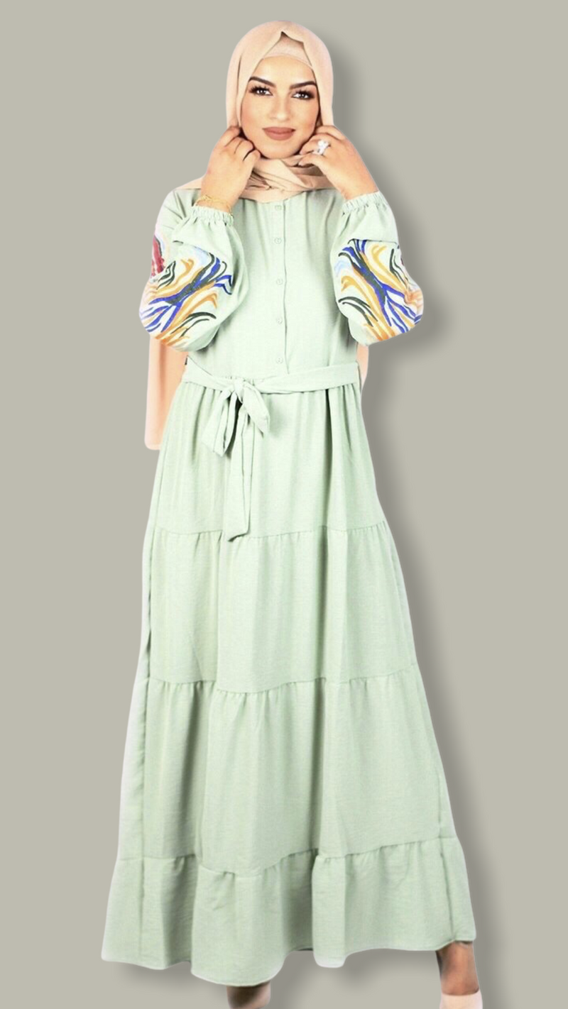 Embroidered Layered Maxi Dress - Pistachio Green
