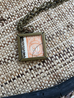 Vintage Stamp Pendant Necklace - Turkey Double-Sided