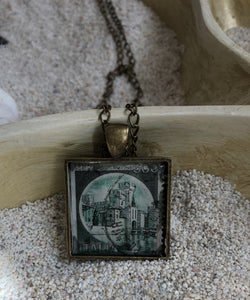 Vintage Stamp Pendant Necklace - Italia Italy