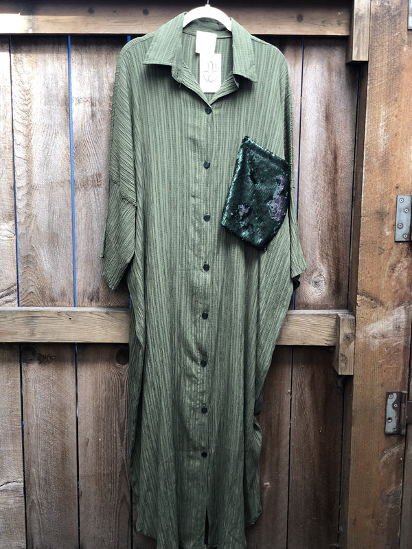 Glam Shirt Dress - Olive Green