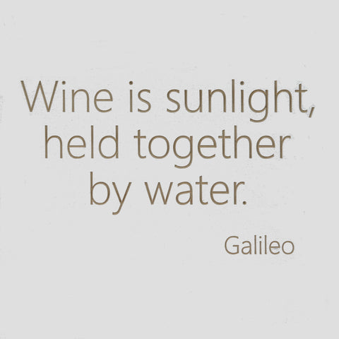 Wine is sunlight, held together by water - Galileo