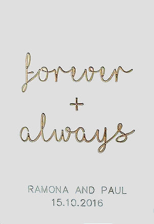 forever + always personalised wedding board